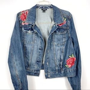 A.N.A • Rose Embroidered Jean Jacket Sz XL